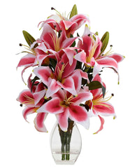 1343 Rubrum Lily Silk Flowers w/Reception Vase by Nearly Natural | 18.25""