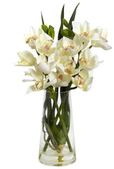 4992 Silk Cymbidium Orchid in Water w/Pyramid Vase by Nearly Natural | 19""