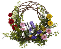 4988 Spring Floral Artificial Silk Wreath by Nearly Natural | 22 inches