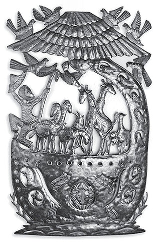 LG600 Noah's Ark Animals Birds Metal Art 23.5x38 inches | Haiti Fair Trade by Beyond Borders