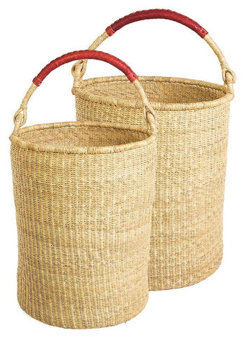 gh25a Natural Set of 2 Bolga Open Nesting Laundry Basket Hampers | Senegal Fair Trade by Swahili Imports