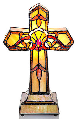 9927 Amber Allistar Cross Stained Glass Lamp by River of Goods | 13.25 inches