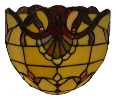 13058S Allistar Amber 9-Light Wireless Stained Glass Sconce by River of Goods