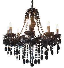 13488 Glam Dame Jeweled Noir 8-Light Portable Chandelier by River of Goods