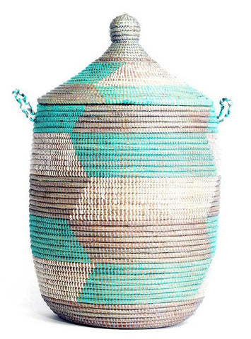 sen10y Aqua Silver & White Chevron Medium Traditional Hamper Storage Basket | Senegal Fair Trade by Swahili Imports
