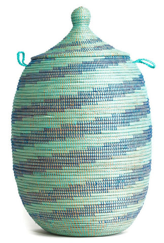 sen49u Aqua & Blue Spiral Extra Large Traditional Laundry Hamper Basket | Senegal Fair Trade by Swahili Imports