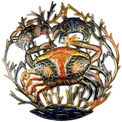 HMDPCRAB Hand Painted Crabs in Coral Oil Drum Metal Art 24"