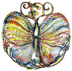 HMDPBUT Hand Painted Butterfly & Gecko Oil Drum Art 24"