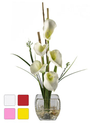 1118 Calla Lily Silk Flowers in Water in 4 colors by Nearly Natural | 18""