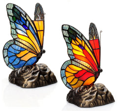 13261 Butterfly Touch Stained Glass Lamp Set of 2 by River of Goods | 8 inches