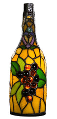 13776S Wine Bottle Wireless LED Stained Glass Lamp by River of Goods | 12.5 inches