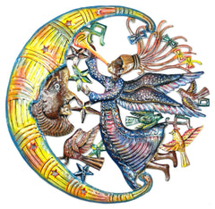 HMDPAM Hand Painted Angel on Moon Oil Drum Metal Art 24"