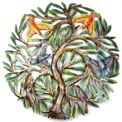 HMDPTREE2 Hand Painted Tree of Life w/ Birds Oil Drum Art 24"