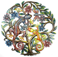 HMDPGT Hand Painted Tree Geckos Dragonfly Oil Drum Art 24"