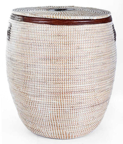 sen48a sen48b White Large Leather Accent Laundry Hamper Storage Basket with Lid | Senegal Fair Trade by Swahili Imports