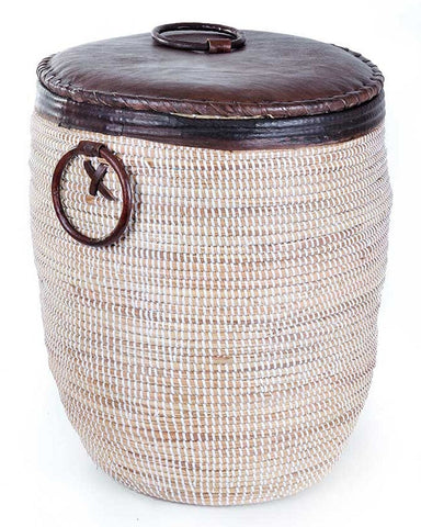 sen48c sen48d White Large Leather Accent Laundry Hamper Storage Basket with Lid | Senegal Fair Trade by Swahili Imports