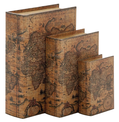 41073 Age of Discovery World Map Faux Leather Wood Book Box Set/3 by Benzara