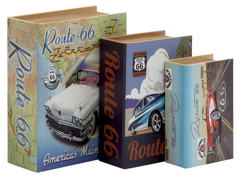 62289 Classic Cars Route 66 Canvas Wood Faux Book Box Set of 3 by Benzara