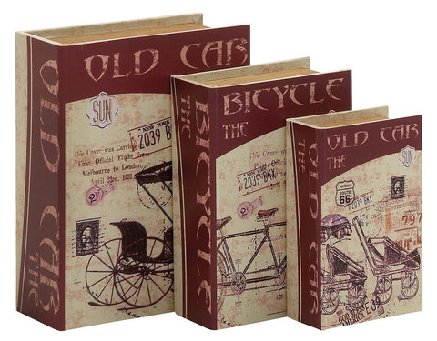 62292 Modes of Transport Canvas Wood Faux Book Box Storage Set/3 by Benzara