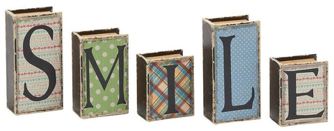 59394 SMILE Faux Leather Wood Mini Book Box Storage Set of 5 by Benzara