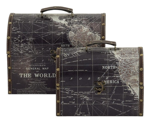 14849 Stanford World Map Faux Leather Wood Round Top Chest Set/2 by Benzara
