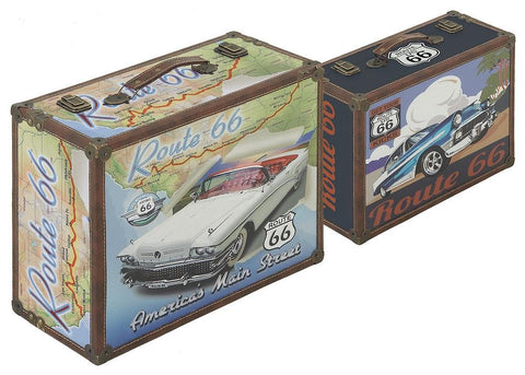 62287 Classic Cars Route 66 Canvas Wood Suitcase Box Set of 2 by Benzara