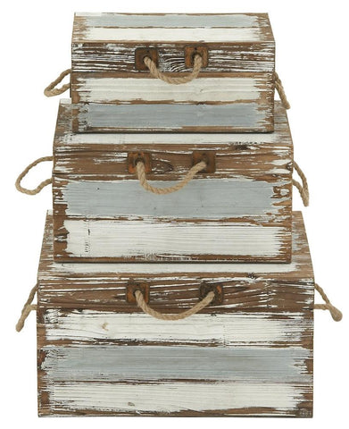 48569 Blue & White Wood Rope Metal Rectangular Storage Box Set/3 by Benzara