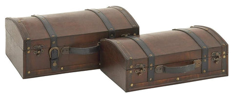 56632 Brown Strap & Buckle Faux Leather Wood Round Top Boxes S/2 by Benzara