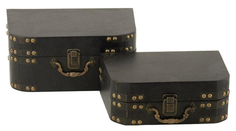 56646 Black Faux Leather Wood Rounded Suitcase Storage Box Set/2 by Benzara