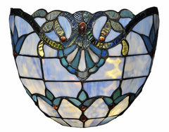 13059S Allistar Blue 9-Light Wireless Stained Glass Sconce by River of Goods