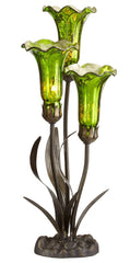 14708M Green Mercury Glass 3-Light Lily Accent Lamp by River of Goods | 21 inches