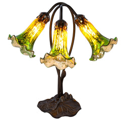14709J Green/Amber Mercury Glass 3-Light Lily Lamp by River of Goods | 16 inches