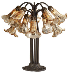 14711C Gold Mercury Glass 10-Light Lily Table Lamp by River of Goods | 21 inches