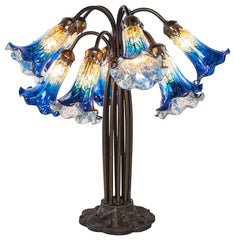 14711D Blue/Silver Mercury Glass 10-Light Lily Lamp by River of Goods | 21 inches