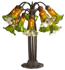 14711J Green/Amber Mercury Glass 10-Light Lily Lamp by River of Goods | 21 inches