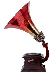 14502S Red Mercury Glass Gramophone Music Box Lamp by River of Goods | 15.75 inches