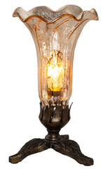 14700C Gold Mercury Glass Lily Accent Lamp Leaf by River of Goods | 8.25 inches