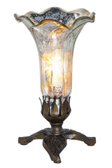 14700H Silver Mercury Glass Lily Accent Lamp Leaf by River of Goods | 8.25 inches