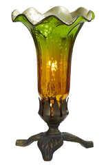 14700J Green/Amber Mercury Glass Lily Lamp Leaf | by River of Goods 8.25 inches