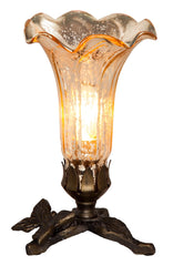 14702C Gold Mercury Glass Lily Accent Lamp Butterfly by River of Goods | 8 inches