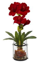 4994 Amaryllis Silk Holiday Flower in Vase by Nearly Natural | 24 inches