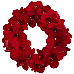 4879 Amaryllis Artificial Silk Wreath by Nearly Natural | 22 inches