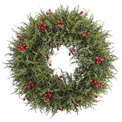 4891 Cedar Berry Artificial Silk Wreath by Nearly Natural | 20 inches