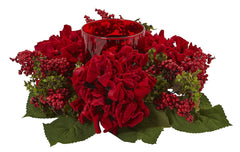 4877 Hydrangea & Berry Holiday Candelabrum by Nearly Natural | 14 inches