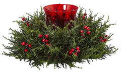 4892 Cedar Berry Holiday Candelabrum by Nearly Natural | 16 inches