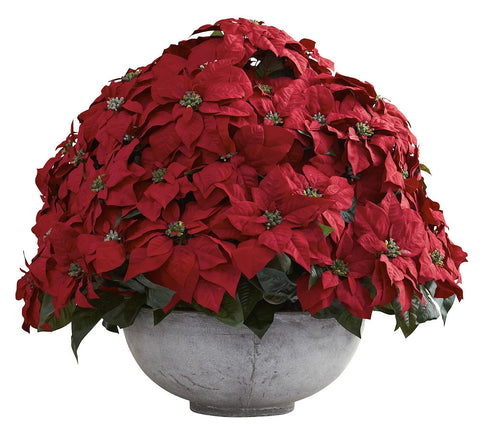 1345 Giant Poinsettia Artificial Silk Holiday Plant by Nearly Natural | 34""