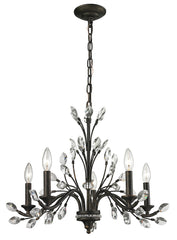 11775/5 Crystal Branches 5-Light Chandelier in Burnt Bronze with Crystal Leaves by ELK Lighting