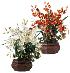 1199 Large Silk Cymbidium Orchid in 2 colors by Nearly Natural | 3 feet