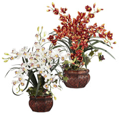 1245 Cymbidium Orchid Silk Plant in 2 colors by Nearly Natural | 30 inches