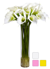 1251 Calla Lily Silk Flowers in Water in 3 colors by Nearly Natural | 27""